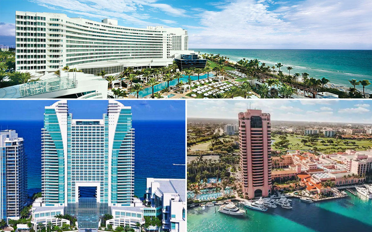 Fontainebleau Miami Beach (Top), Diplomat (Left), and Boca Raton Resort (Right)