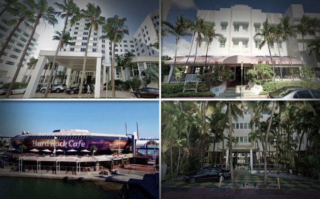 From top left, clockwise: Palms Hotel and Spa, Circa 39 Hotel, the Richmond hotel and Hard Rock Cafe Miami