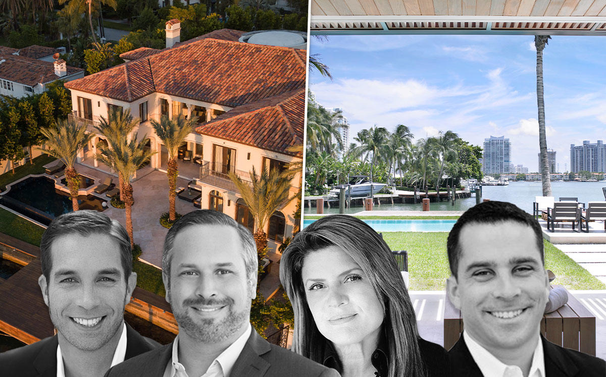 From left: Julian Johnston, Phil Gutman, Dora Puig and Albert Justo, with two Miami Beach houses that Johnston rented out