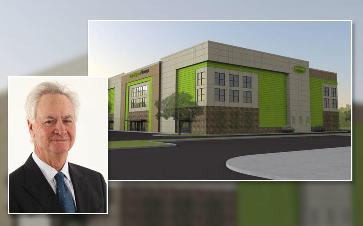 Richard Kayne, Founder and Co-Chairman of Kayne Anderson Capital Advisors, and a rendering of the self storage facility (Credit: TAYLOR / THEUS HOLDINGS, INC.)