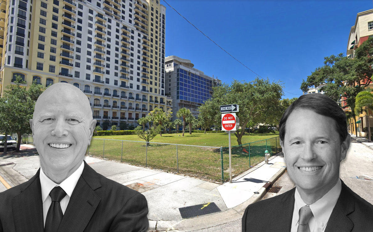 From left: George Gleason the CEO of Bank OZK and Transwestern CEO Larry P. Heard, with 625 South Olive Avenue (Credit: Google Maps)