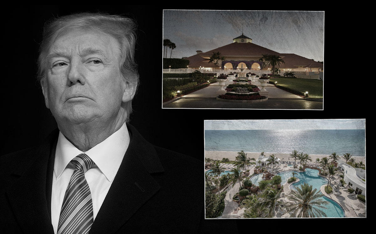 President Trump, Trump National Doral Miami and Delano South Beach (Credit: SAUL LOEB/AFP via Getty Images and Trump International)