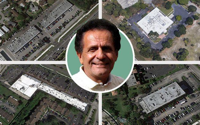 Investments Limited's James Batmasian and clockwise from top left: 22797-22749 State Road 7, Boca Raton; 601 Fairway Drive, Deerfield Beach; 23123 South State Road 7, Boca Raton; 22973-23071 South State Road 7, Boca Raton (Credit: Google Maps)