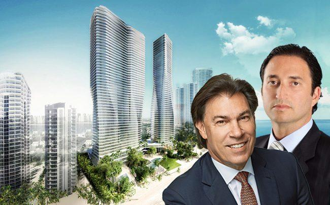 Fortune International Group's Edgardo Defortuna, Château Group's Manuel Grosskopf and a rendering of the project
