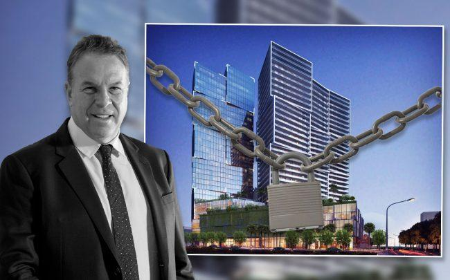 Jeff Greene and a rendering of 550 North Quadrille Boulevard (Credit: Arquitectonica International via Facebook)