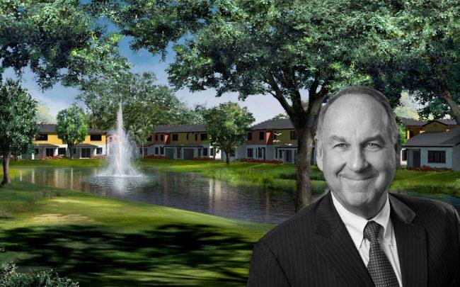 Stephen Gravett, CEO of Kennedy Homes and a rendering of Trevi Isle home community
