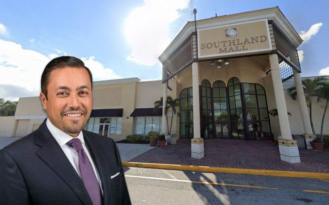 Investcorp CEO  Hazem Ben-Gacem and Southland Mall (Credit: Google Maps)