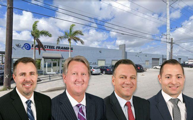 From left: Avison Young's David Duckworth, Michael Fay, John Crotty, and Brian C. de la Fé, with 7400 Northwest 37 Avenue (Credit: google Maps)