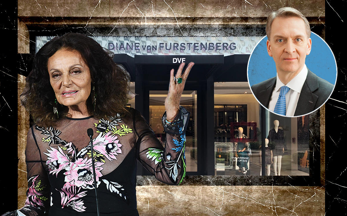 Diane Von Furstenberg, Brookfield Properties Bruce Flatt, and the DVF store in the Shops at Merrick Park (Getty, Google Maps)