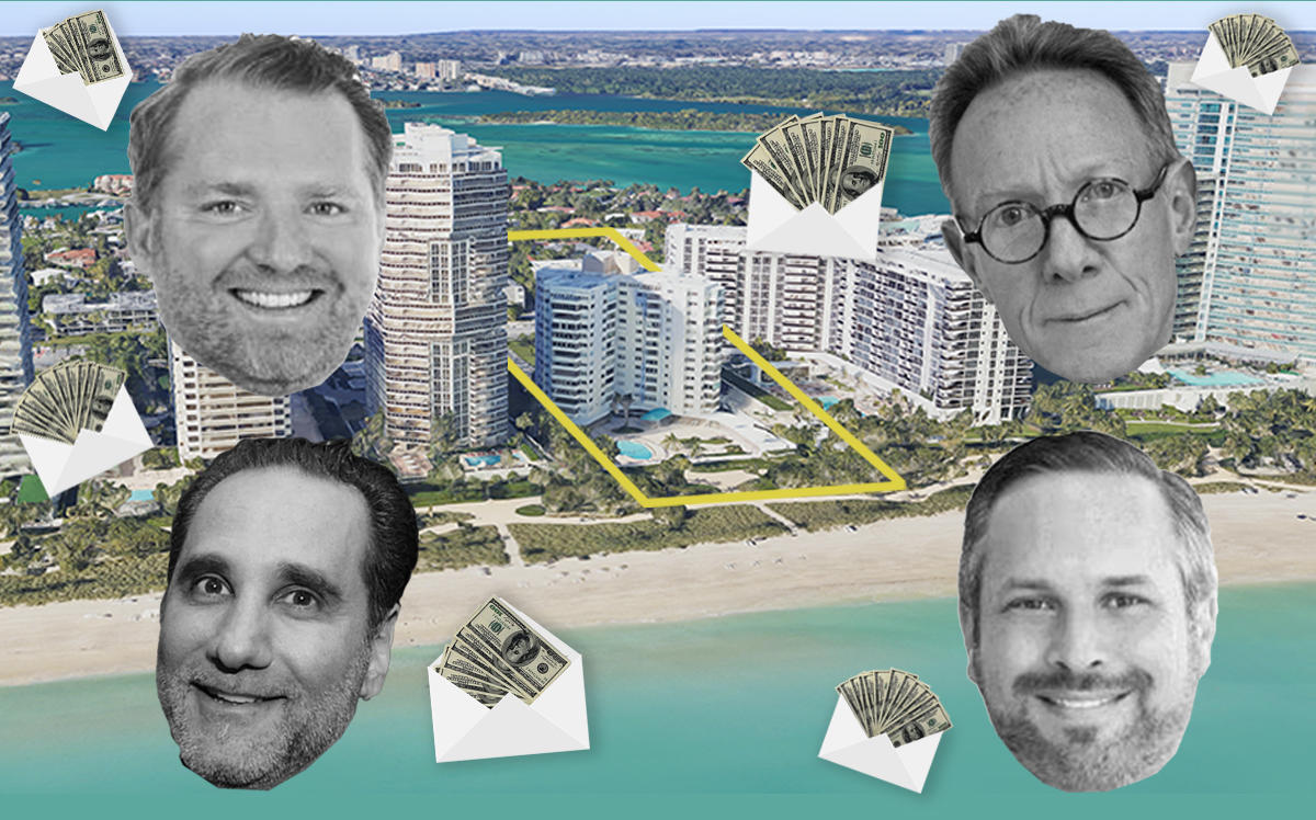 10245 Collins Avenue and (clockwise from top left) Taylor Collins, Bruce Eichner, Phil Gutman and Louis Birdman (Google Maps)