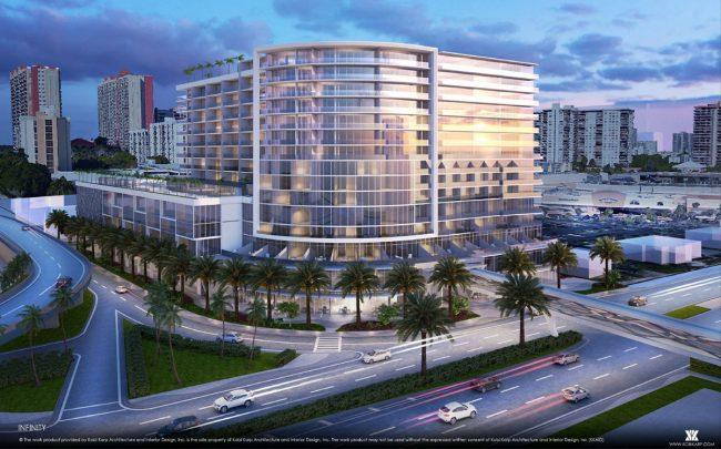 Rendering of GPI Real Estate Group's Infinity, a previously planned 15-story mixed-use project