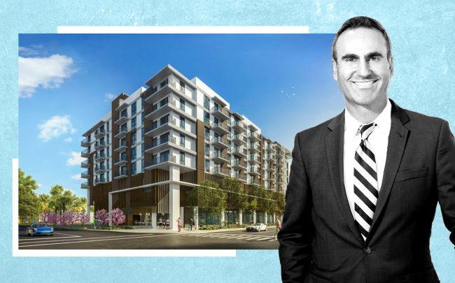 Housing Trust Group CEO and president Matt Rieger and Hudson Village renderings