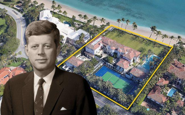 John F. Kennedy and 1095 North Ocean Boulevard (Credit: Bachrach/Getty Images and Google Maps)