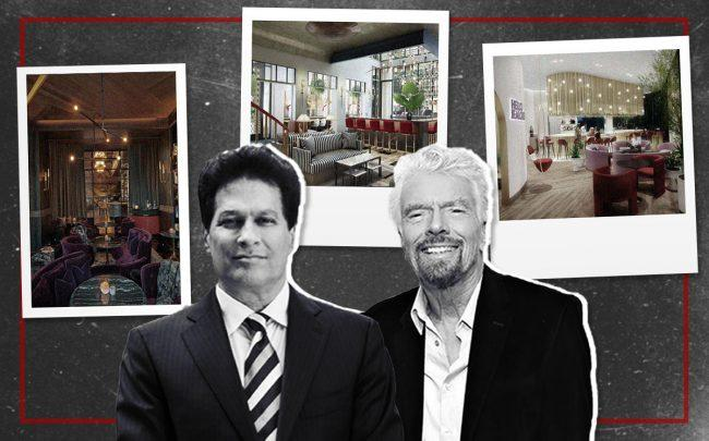 Ziel Feldman and Richard Branson with renderings of the Shore Club (Credit: Getty Images)