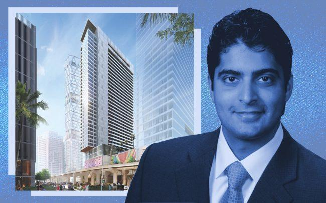 Miami Worldcenter Managing Principal Nitin Motwani and a rendering of the project