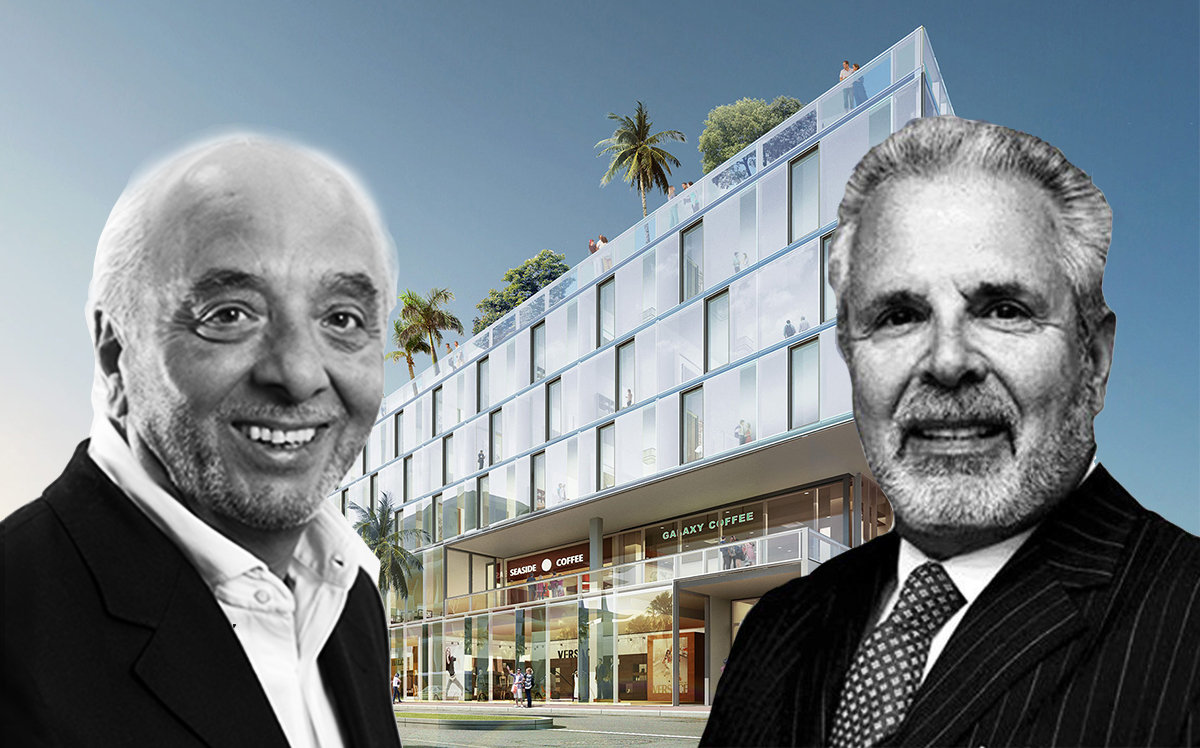 citizenM founder Rattan Chadha, Russell Galbut and a rendering of 1212 Lincoln