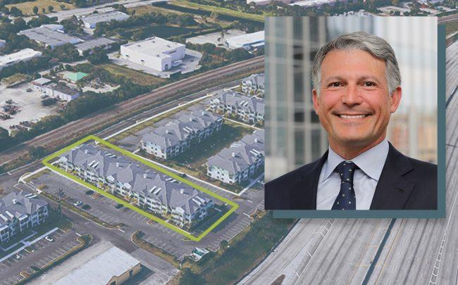 Cortland Partners CEO Steven DeFrancis and Depot Station apartment complex in Delray Beach (Google Maps)