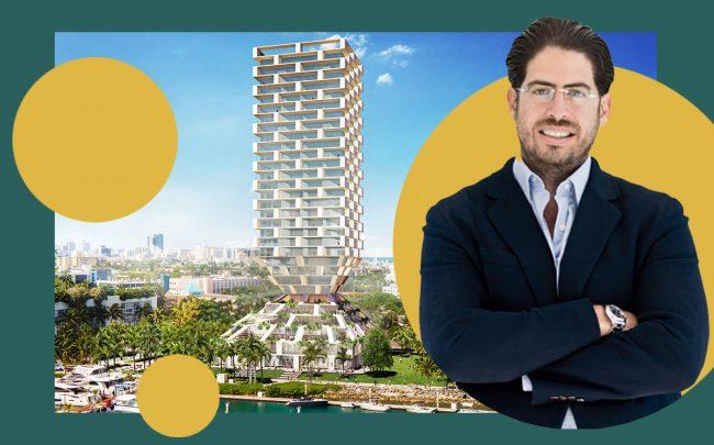 David Martin and a rendering of the project