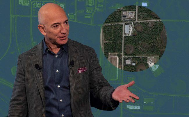 Jeff Bezos and the site at 14490 Corporate Road North (Google Maps)