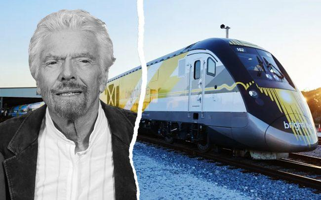 Richard Branson and Brightline train (Getty, Virgin)