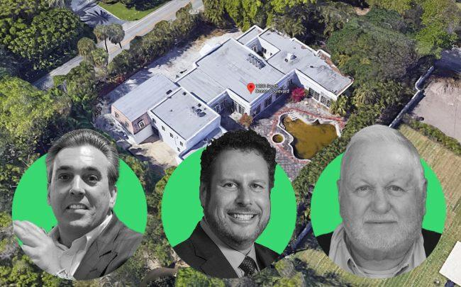 From left: Tom Maoli, Michael Lyons, and Richard Lyons, with 1230 South Ocean Boulevard, Palm Beach (Credit: Google Maps)
