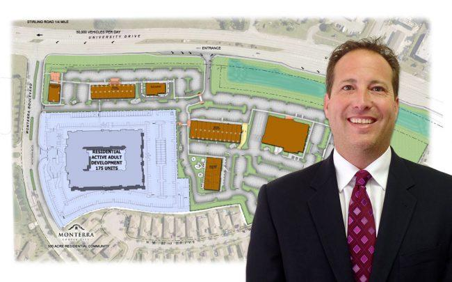 Cary Goldberg and a aerial rendering of development