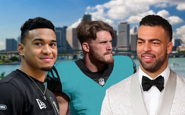 Tua Tagovailoa, Clayton Fejedelem, and Kyle Van Noy (Credit: Alika Jenner/Getty Images, Johnson/Icon Sportswire via Getty Images, and Rich Graessle/PPI/Icon Sportswire via Getty Images)