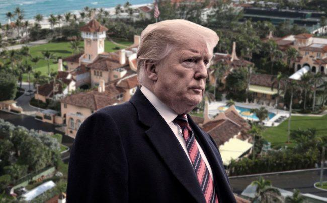 President Trump and Mar-a-Lago Club (Credit: Joe Raedle/Getty Images, and Pete Marovich/Getty Images)