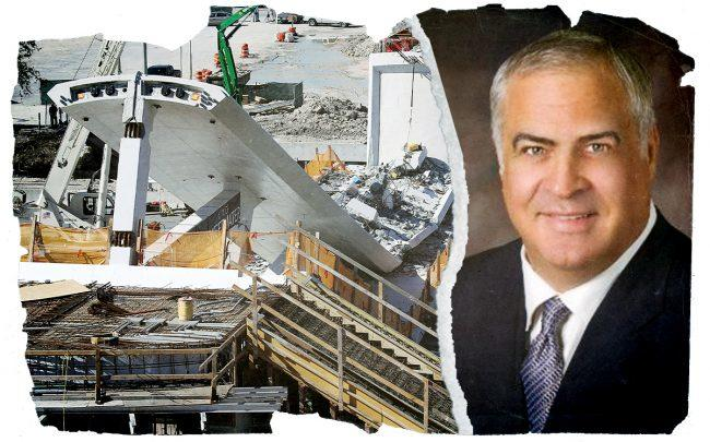 MCM President Jorge Munilla and a photo of the bridge collapse (Linkedin, Getty)