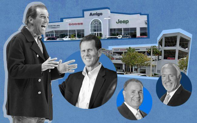 From left: Steve Bisciotti, Jim Davis with  Jim and John Arrigo, with 5901 Madison Avenue, Tamarac and 2250 North State Road 7, Margate (Getty, Arrigo Auto Group, Google Maps)