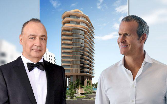 Len Blavatnik, Vlad Doronin and a rendering of the project (Credit: Mike Coppola/FilmMagic via Getty Images)