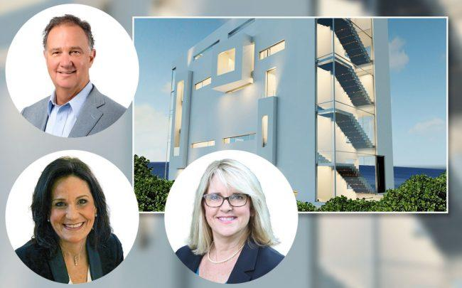 The Principal Richard Caster, Monica Mayotte and Andrea O'Rourke of Boca Raton City Council, and 2600 North Ocean Boulevard, Boca Raton (Credit: Azure Development)