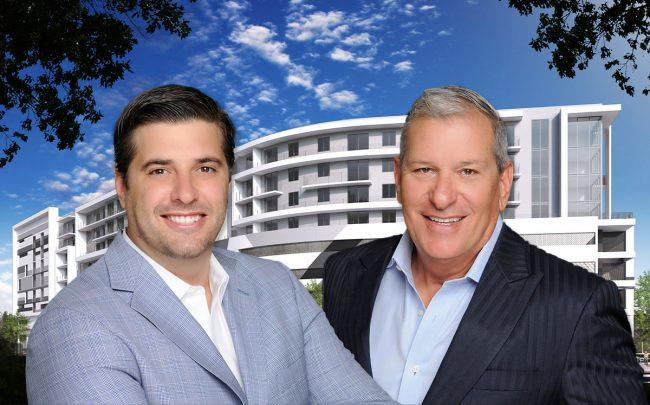 Jeff Ardizon, Principal, The Estate Companies, and Robert Suris, Managing Principal, The Estate Companies, with a Soleste Spring Gardens rendering