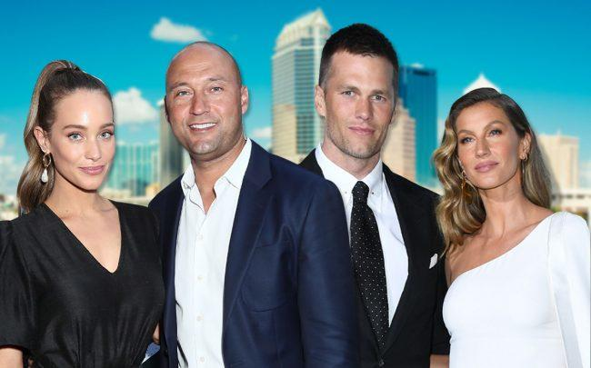 Hannah and Derek Jeter, Tom Brady and Gisele Bundchen (Credit: Leon Bennett/Getty Images, Jon Kopaloff/FilmMagic via Getty Images)