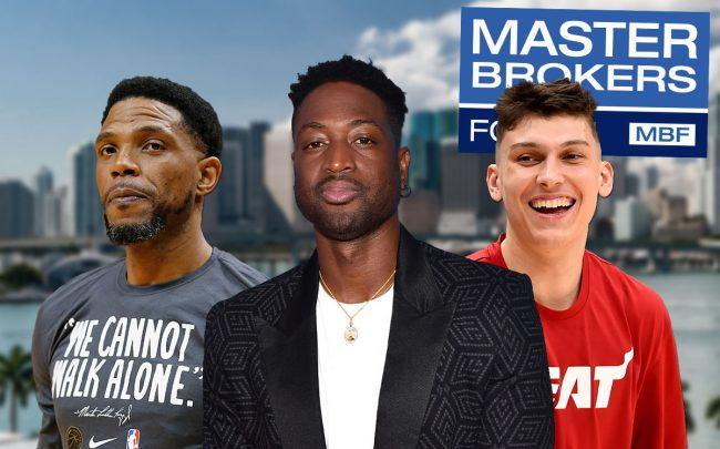 Udonis Haslem, Dwyane Wade, and Tyler Herro (Credit: Michael Reaves/Getty Images, Matt Winkelmeyer/Getty Images, and Will Newton/Getty Images)