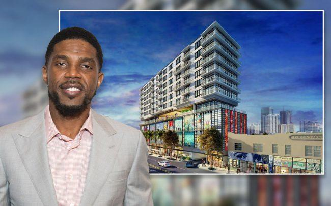 Wynwood Works rendering and Udonis Haslem (Credit: Bobby Metelus/Getty Images)