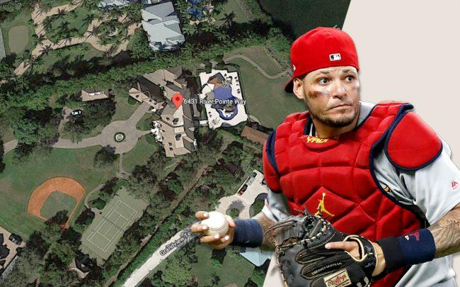 Yadier Molina & 6431 River Pointe Way (Credit: Todd Kirkland/Getty Images, and Google Maps)