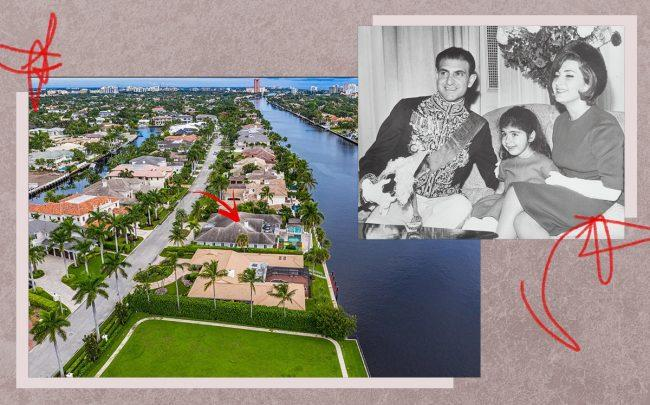 Mahnaz Zahedi pictured with her parents in 1962 (inset) and444 E Alexander Palm Road (Getty, Zillow)