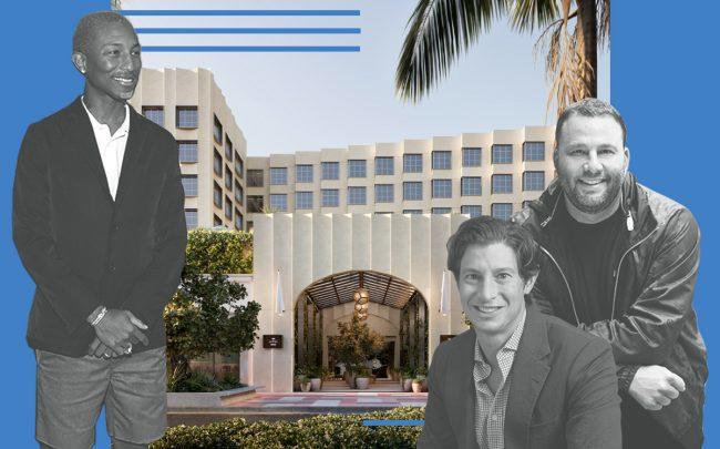 Pharrell, Eric Birnbaum and David Grutman with a rendering of the hotel (Getty, Linkedin, Goodtime Hotel)