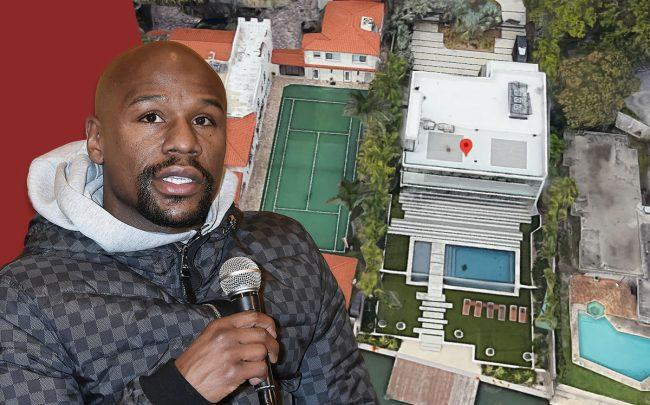 Floyd Mayweather & 5501 Pine Tree Drive, Miami Beach (Credit: Google Maps and Jun Sato/Getty Images)