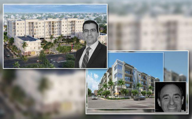From left: A rendering of Deco Green and developer Ricardo Hernandez, and a rendering of Element with developer Norman Weinstein (Credit: Dominick Ranieri Architect and Rosemurgy Properties)