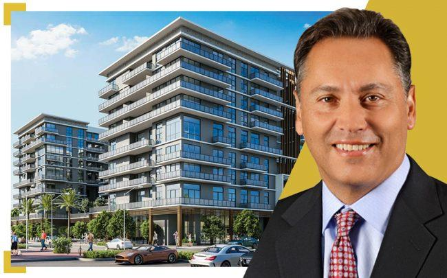 Avalon Communities CEO Timothy J. Naughton and renderings of the project with AvalonBay head (Corwil Architects)