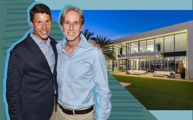 Lawrence Kaplan and Bart Halpern with 2299 Ibis Isle Road East, Palm Beach (Getty, Corcoran)