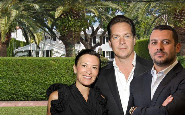 Sarah and Austin Harrelson & Alexander Kaushansky, with 4955 Lakeview Drive, Miami Beach (Credit: Patrick McMullan via Getty Images, and Google Maps)