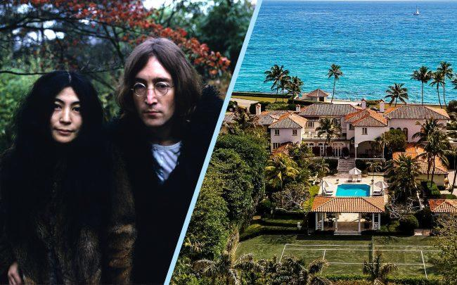 Yoko Ono and John Lennon with 720 South Ocean Boulevard (Getty Images; Zillow)