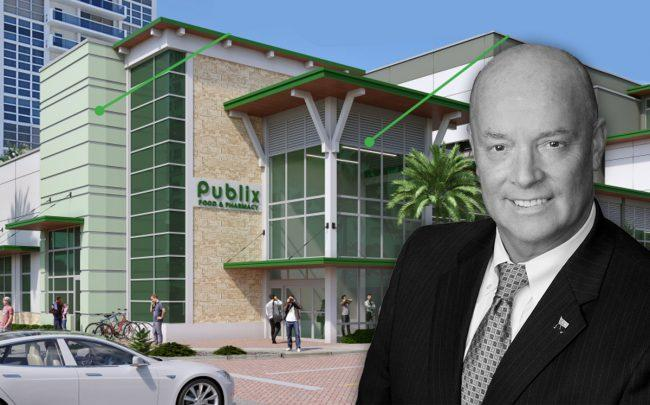 Publix CEO Todd Jones and a rendering of the project