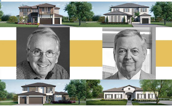 Jim Carr and Armando Codina with renderings of the homes (CC Homes)