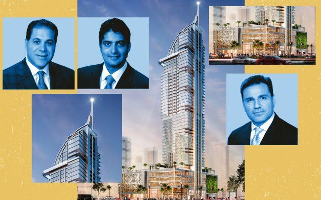 Miami Worldcenter Associates developers Art Falcone and Nitin Motwani and RPC's Dan Kodsi with a rendering of the project (Royal Palm Companies)
