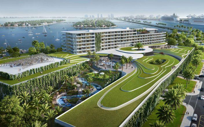 Rendering of the new Jungle Island with a 300-room hotel (EoA Group)