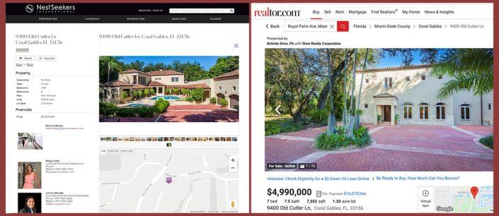 9400 Old Cutler Lane listings, as seen on Nest Seekers and Realtor
